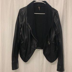 Free People Black Vegan Leather Moto Jacket Small